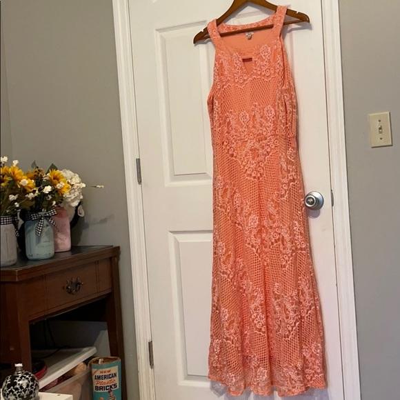 Tangerine lace overlay Dress